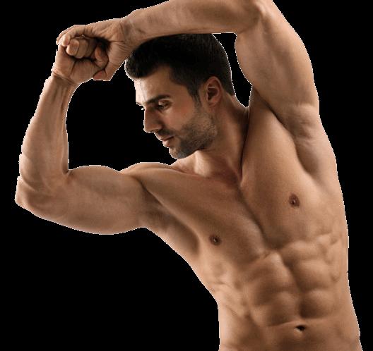 Homem muscular na esteróides Deca Durabolin